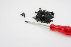 Roter Schraubenzieher und schwarze Schraube Lizenzfreie Stockfotos