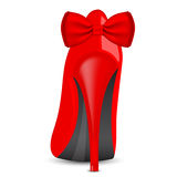 Roter Schuh mit Bogen Stockbild