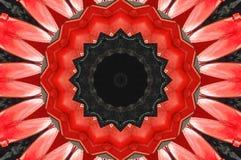 Roter schwarzer Kaleidoskopmuster-Zusammenfassungshintergrund Punkt, Lautsprecher, industrieller Hintergrund Abstrakter Fractalka stock abbildung