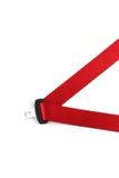 Roter Sicherheitsgurt mit einem Verbindungselement stockbilder