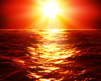 Roter Sonnenuntergang über Meer Lizenzfreie Stockfotos