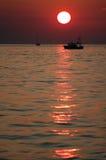 Roter Sonnenuntergang Stockfoto