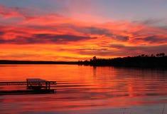 Roter Sonnenuntergang Stockbild