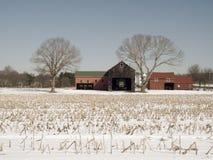 Roter Stall-Bauernhof Stockbild