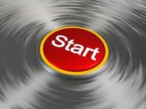 Roter Startknopf Stockfoto