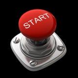 Roter Startknopf getrennt Stockbild