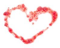 Roter Stau in Form von dem Herzen lokalisiert auf Weiß Stockfoto