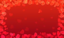 Roter Steigungshintergrund mit Herzen mit bokeh Effekt vektor abbildung