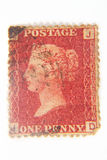 Roter Stempel des britischen Pennys Stockbild