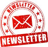 Roter Stempel des Newsletters Stockfoto