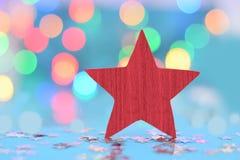 Roter Stern auf blauem background Stockbild