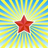 Roter Stern auf einem gelb-blauen Hintergrundvektor Stockfotos