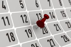 Roter Stift, der wichtigen Tag auf Kalender markiert Abbildung 3D Lizenzfreie Stockbilder