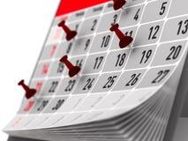 Roter Stift, der wichtigen Tag auf Kalender markiert Abbildung 3D Lizenzfreies Stockfoto