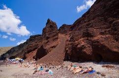 Roter Strand auf Santorini-Insel, Griechenland Stockbild