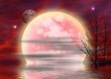 Roter surrealer Mondhintergrund Stockfoto