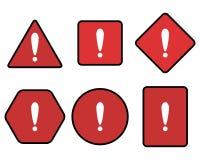 Roter Symbolsatz des Ausrufs und der Warnung lizenzfreie abbildung