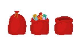 Roter Tasche Santa Claus-Pixelkunstsatz großer Feiertag des Sacks 8bit für Geschenke Große Sack voll des Videospiels für neues Ja stock abbildung