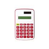 Roter Taschenrechner lokalisiert auf weißem Hintergrund Lizenzfreie Stockfotos