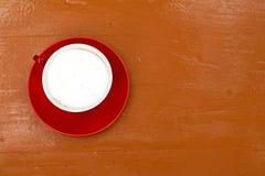 Roter Tasse Kaffee für Hintergrund Stockfoto