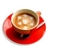Roter Tasse Kaffee mit gemalt auf Schaum Lizenzfreies Stockfoto