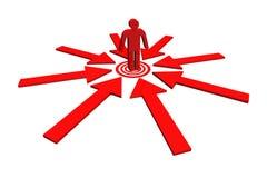 Roter Teamleiter auf Punktziel herum mit rotem Pfeil Lizenzfreies Stockbild
