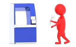 roter Technikercharakter ATM-3d stock abbildung