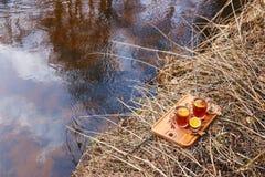 Roter Tee mit Zitrone in den Glasbechern auf der Natur stockfotografie