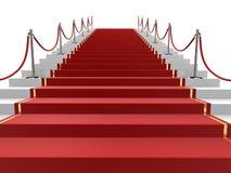 Roter Teppich auf Treppen Stockfotografie