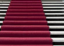 Roter Teppich auf Treppen Lizenzfreies Stockbild