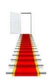 Roter Teppich auf weißer Treppe Stockbild