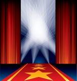 Roter Teppich beschmutzt Sterne Stockfoto