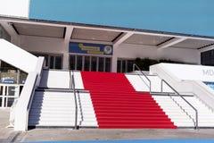 Roter Teppich in Cannes, Frankreich Stairs des Ruhmes Lizenzfreie Stockbilder