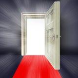 Roter Teppich des abstrakten weißen Aufflackerns der offenen Tür vektor abbildung