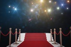 Roter Teppich für Promi Blitzlichter im Hintergrund 3D übertrug Abbildung lizenzfreie abbildung