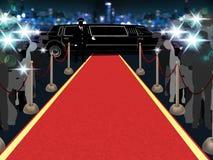 Roter Teppich, Fotografen, Fahrer und ein Luxusauto 1 Stockfoto