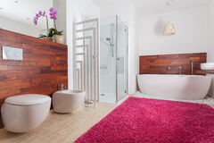 Roter Teppich im hellen Badezimmer Stockbilder