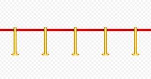 Roter Teppich mit roten Seilen auf goldenen Pfosten Exklusives Ereignis, Filmpremiere, Gala, Zeremonie, spricht Konzept zu Vektor stock abbildung