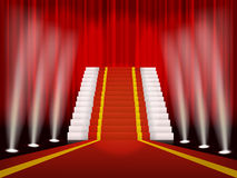 Roter Teppich und Treppe für befriedigende Zeremonie vektor abbildung