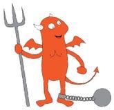 Roter Teufel in den Ketten Stockfoto