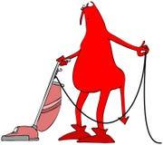 Roter Teufel, der einen Staubsauger verwendet Stockbilder
