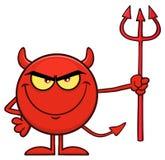 Roter Teufel-Karikatur Emoji-Charakter, der Pitchfork hält Lizenzfreies Stockbild