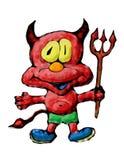 Roter Teufel mit Dreizack Stockfoto