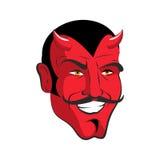 Roter Teufel Roter fröhlicher Hauptdämon mit Hörnern Satan mit dem Schnurrbart stock abbildung
