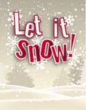 Roter Text des Feiertagssaisonthemas ließ es vor Winterlandschaft, Illustration schneien Lizenzfreies Stockfoto