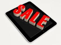 Roter Text-Verkauf auf Tablet Stockfoto
