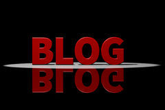 Roter Text, Wiedergabe 3D mit Reflexion: Blog Stockfoto