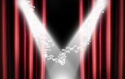 Roter Theater-Trennvorhang mit Scheinwerfern und Sternen Lizenzfreies Stockbild