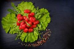 Roter Tomaten- und Pfeffersalat Stockbilder