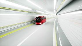 Roter Touristenbus in einem Tunnel Schnelles Antreiben kleines blaues Auto auf Dublin-Stadtkarte Animation 3D